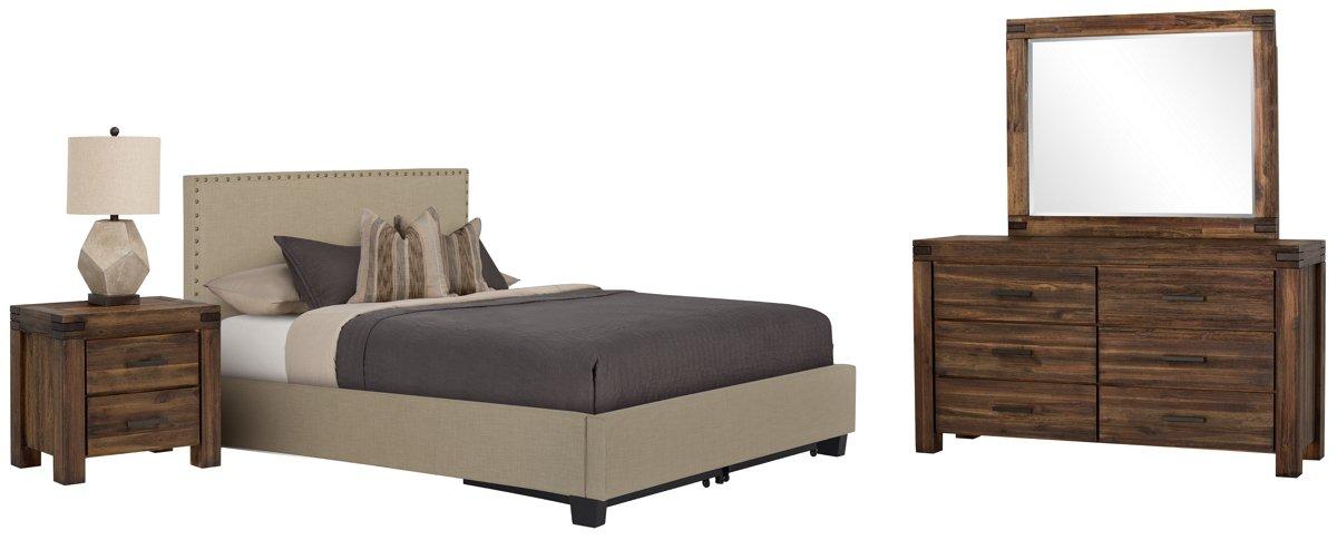 Holden Taupe Uph Platform Storage Bedroom
