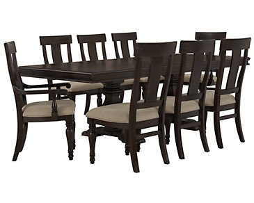 Sterling Dark Tone Trestle Table & 4 Wood Chairs