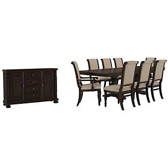 Sterling Dark Tone Upholstered Dining Room