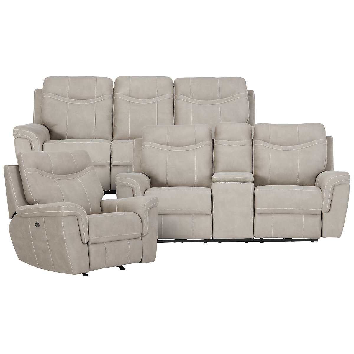 Boardwalk Pewter Microfiber Power Reclining Living Room