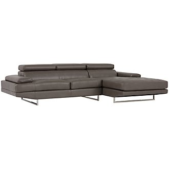 Loki Dark Gray Microfiber Right Chaise Sectional