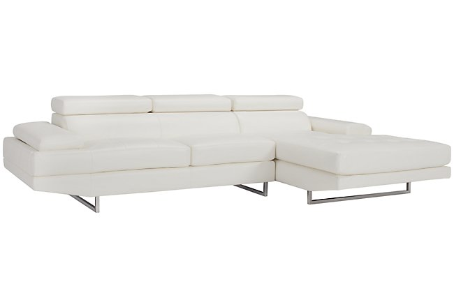 Loki White Micro Right Chaise Sectional