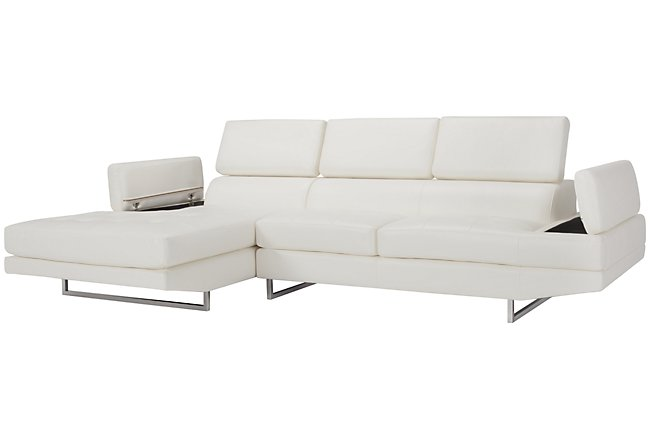 Loki White Micro Left Chaise Sectional