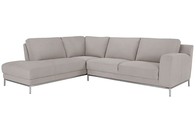 Wynn Light Gray Micro Left Chaise Sectional