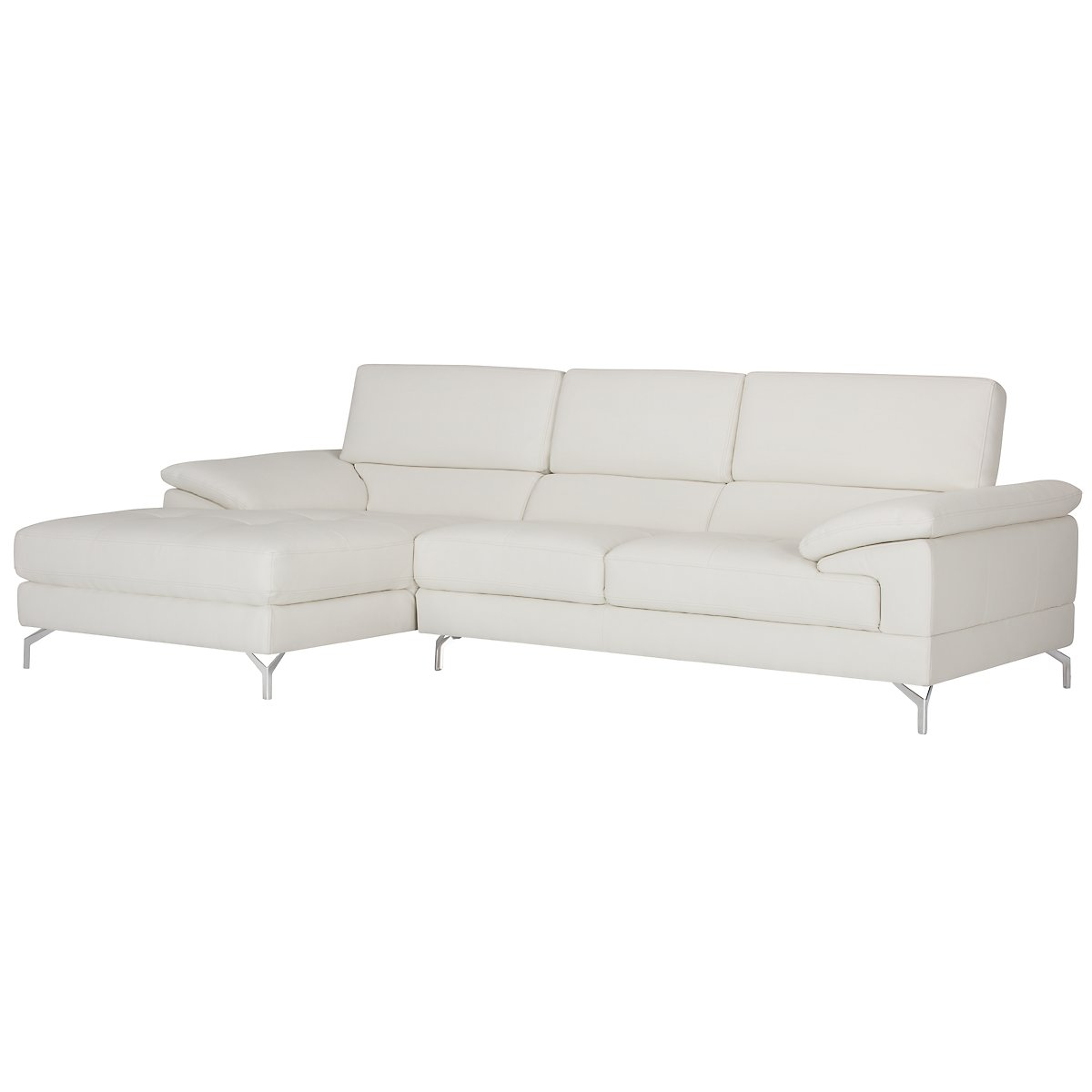 Dash White Microfiber Left Chaise Sectional