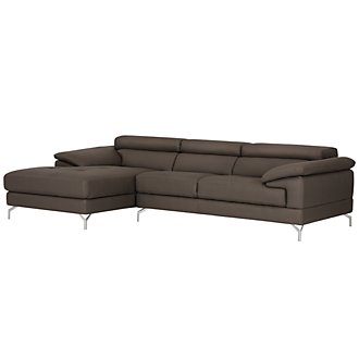 Dash Dark Gray Microfiber Left Chaise Sectional