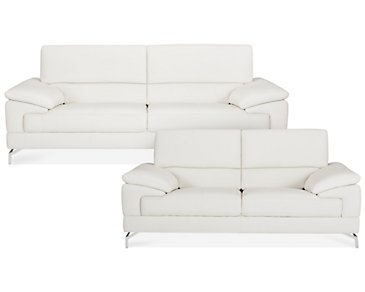 Dash White Microfiber Living Room