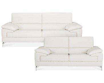 Dash White Microfiber Living Room