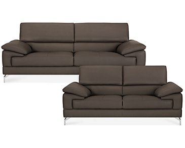 Dash Dark Gray Microfiber Living Room