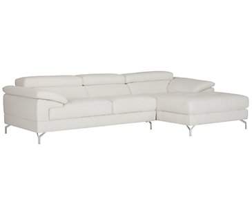 Dash White Microfiber Right Chaise Sectional