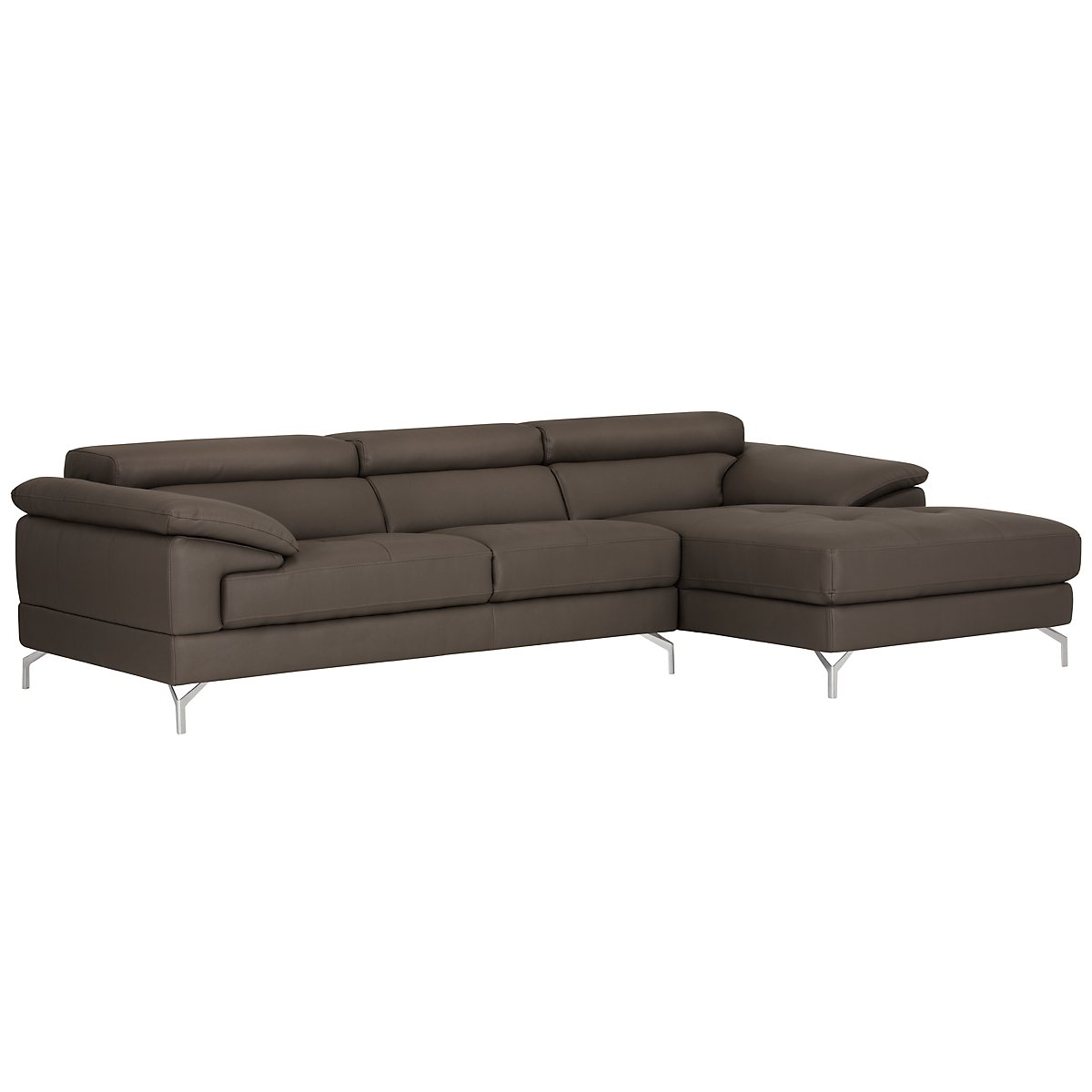 City furniture dash dk gray microfiber right chaise sectional for Gray microfiber sectional sofa with chaise