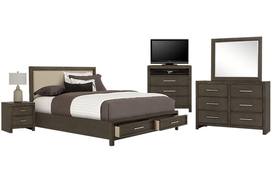 Omaha GRAY UPH Platform Storage Bedroom | Bedroom - Bedroom ...