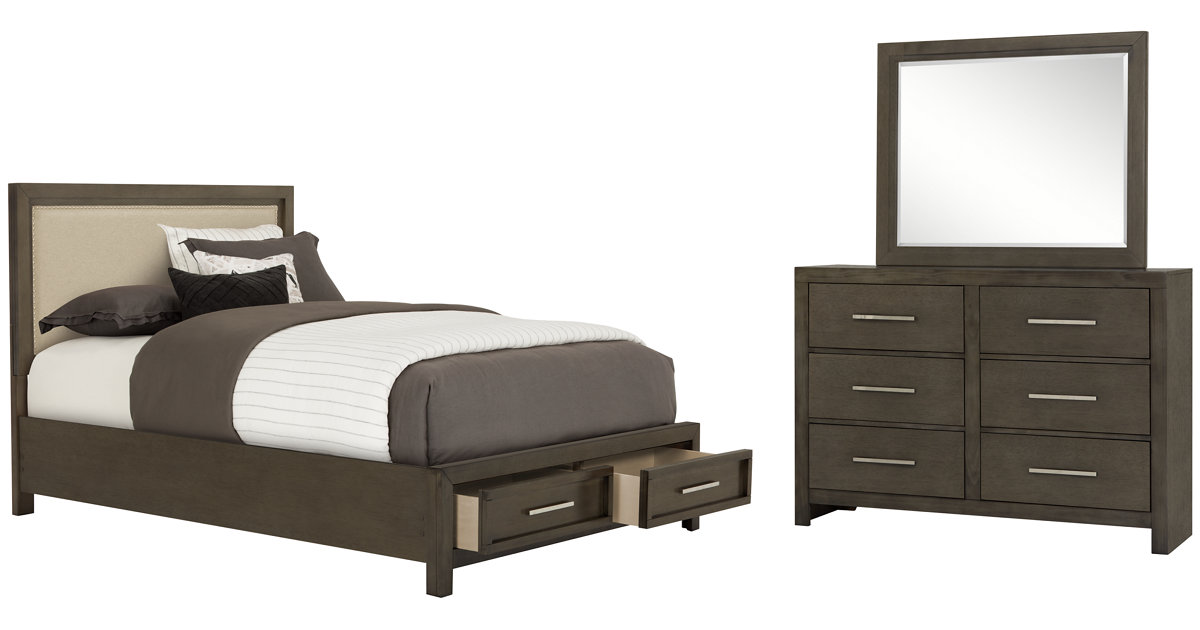 City Furniture Omaha Gray Upholstered Panel Bedroom
