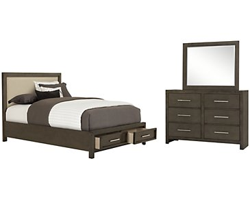 Omaha Gray Upholstered Platform Storage Bedroom