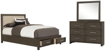 Omaha Gray Upholstered Platform Storage Bed