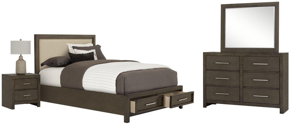Omaha Gray Uph Platform Storage Bedroom