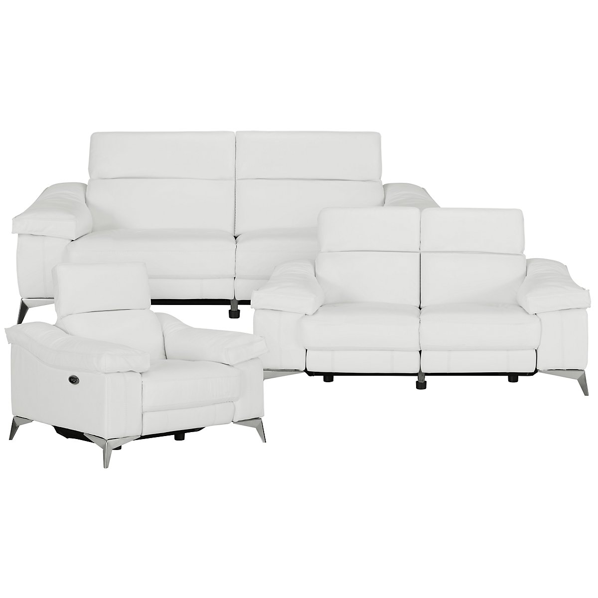 City Furniture: Luca White Leather & Vinyl Power Reclining Living Room