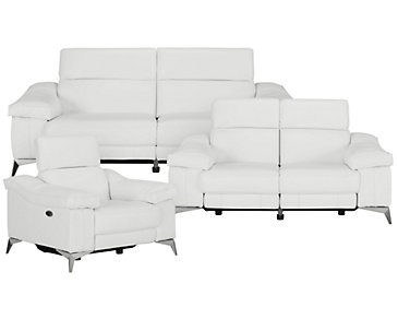 Luca White Leather & Vinyl Power Reclining Living Room