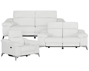 Luca White Leather & Vinyl Power Reclining Living Room