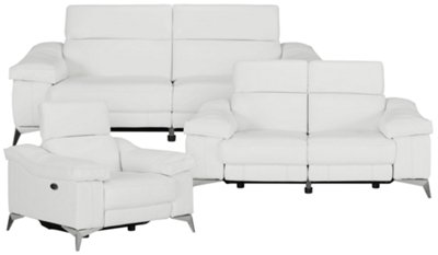 Amazing Luca White Leather U0026 Vinyl Power Reclining Living Room