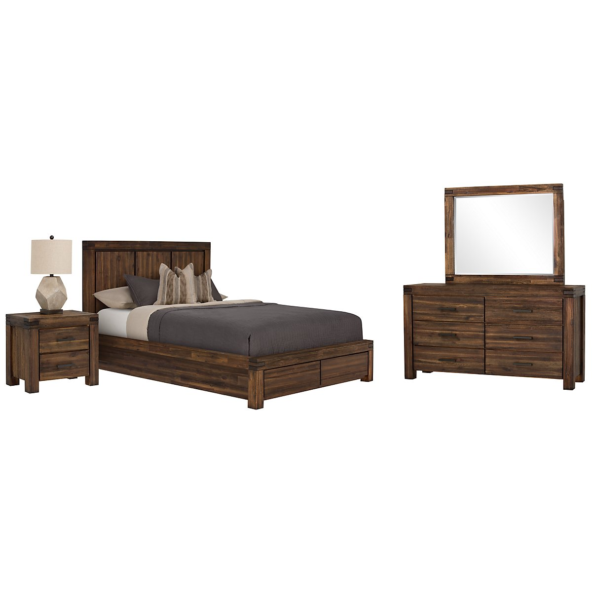 Holden Mid Tone Wood Platform Storage Bedroom