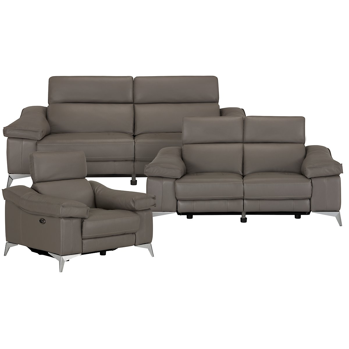 Luca Pewter Leather & Vinyl Power Reclining Living Room