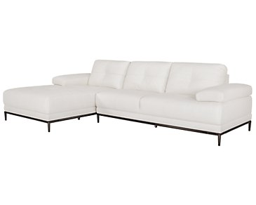 Vanni White Microfiber Left Chaise Sectional
