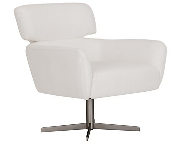Vanni White Microfiber Swivel Accent Chair