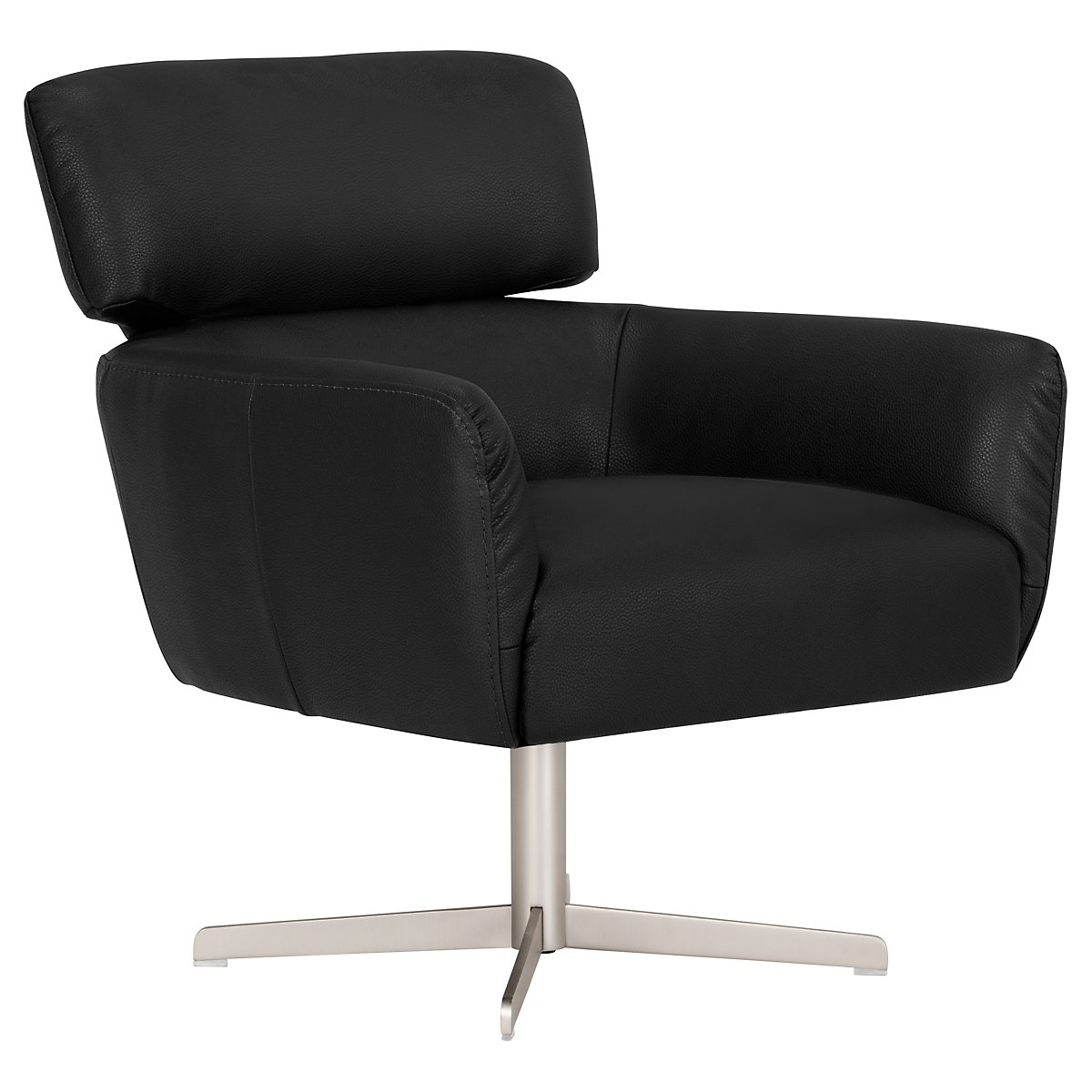 Vanni Black Microfiber Swivel Accent Chair