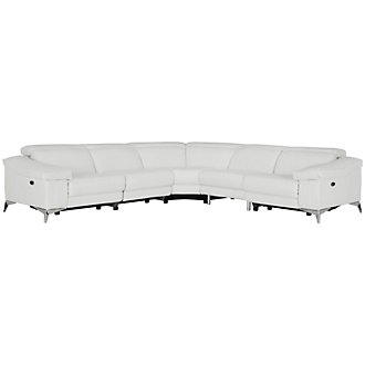 Luca White Leather & Vinyl Small Two-Arm Power Reclining Sectional