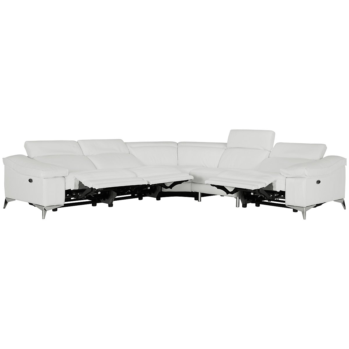 luca white leather vinyl small two arm power reclining sectional