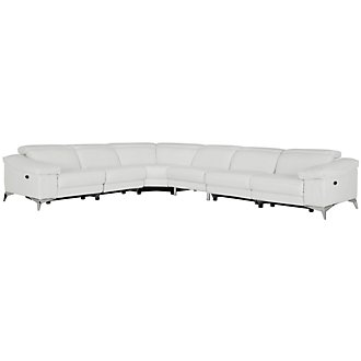 Luca White Leather & Vinyl Large Two-Arm Power Reclining Sectional