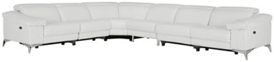 Luca White Leather U0026 Vinyl Large Two Arm Power Reclining Sectional