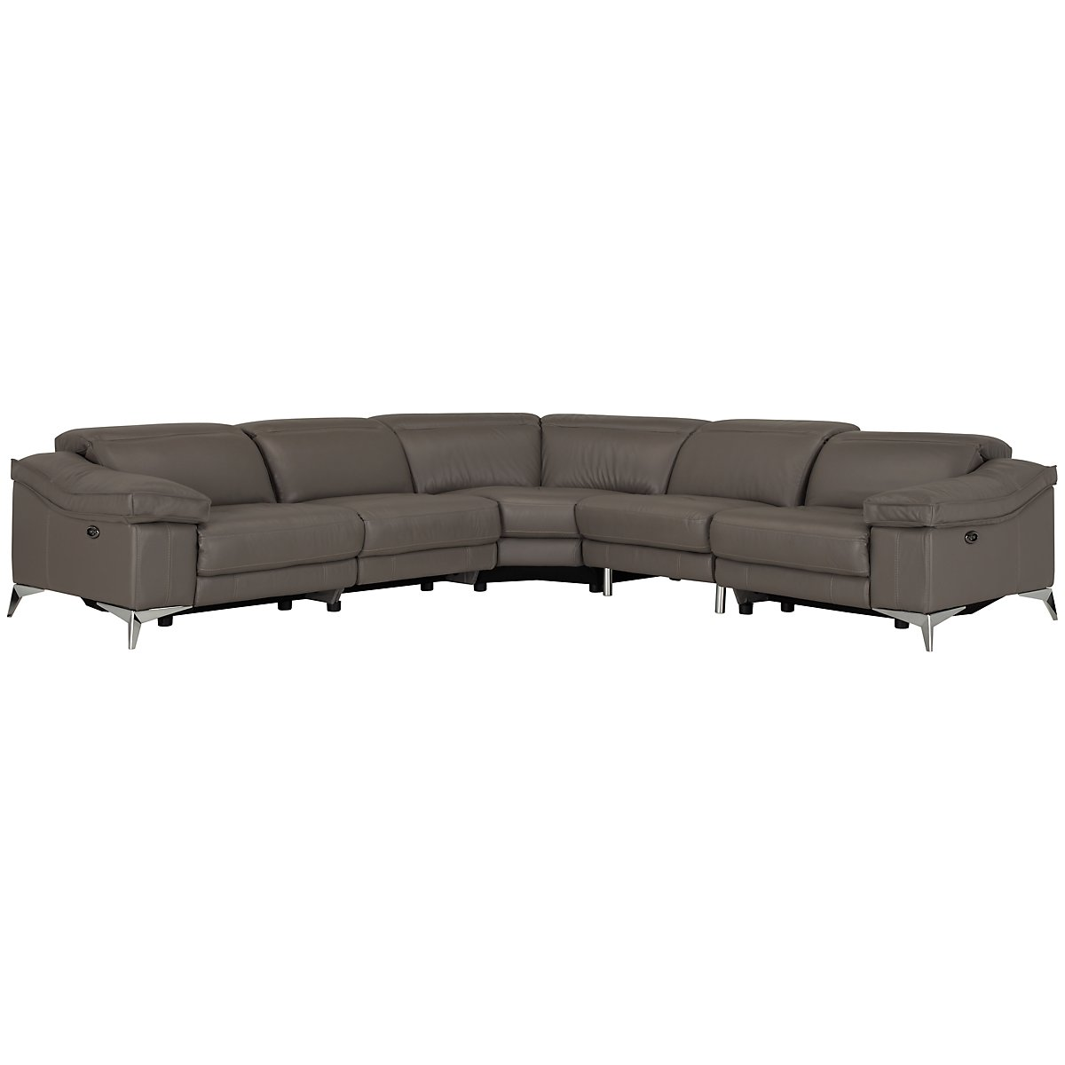 Luca Pewter Leather & Vinyl Small Two-Arm Power Reclining Sectional