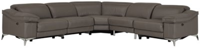 luca pewter leather u0026 vinyl small twoarm power reclining sectional