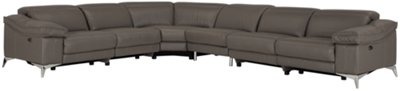 Luca Pewter Leather & Vinyl Large Two-Arm Power Reclining Sectional