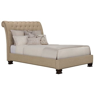 Emerson Beige Upholstered Platform Bed