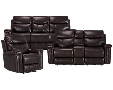 Wallace Dark Brown Microfiber Power Reclining Living Room