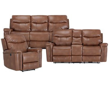 Wallace Medium Brown Microfiber Power Reclining Living Room