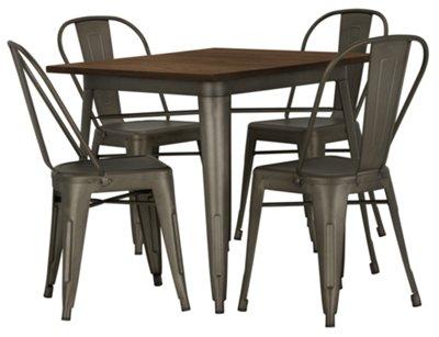 Huntley Dark Tone Square Table & 4 Metal Chairs