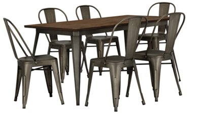 Huntley Dark Tone Rectangular Table & 4 Metal Chairs