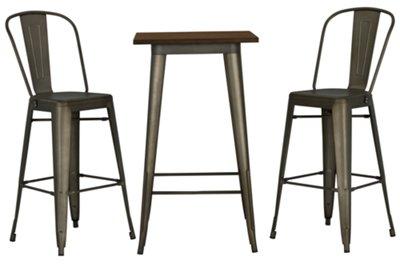 Huntley Dark Tone Pub Table & 2 Metal Barstools