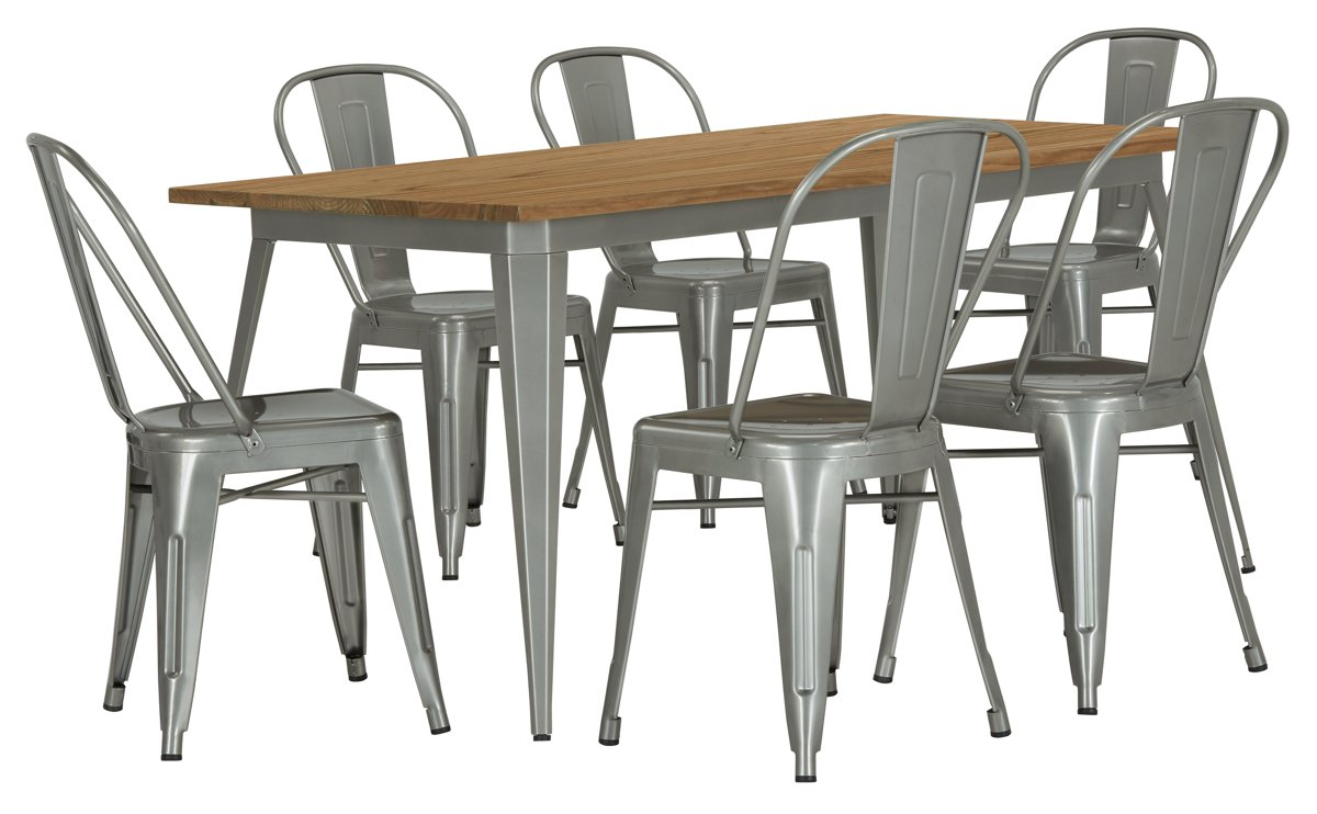 City Furniture Huntley Light Tone Rectangular Table & 4 Metal Chairs