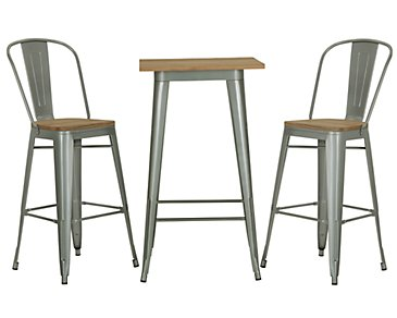 Huntley Light Tone Pub Table & 2 Wood Barstools
