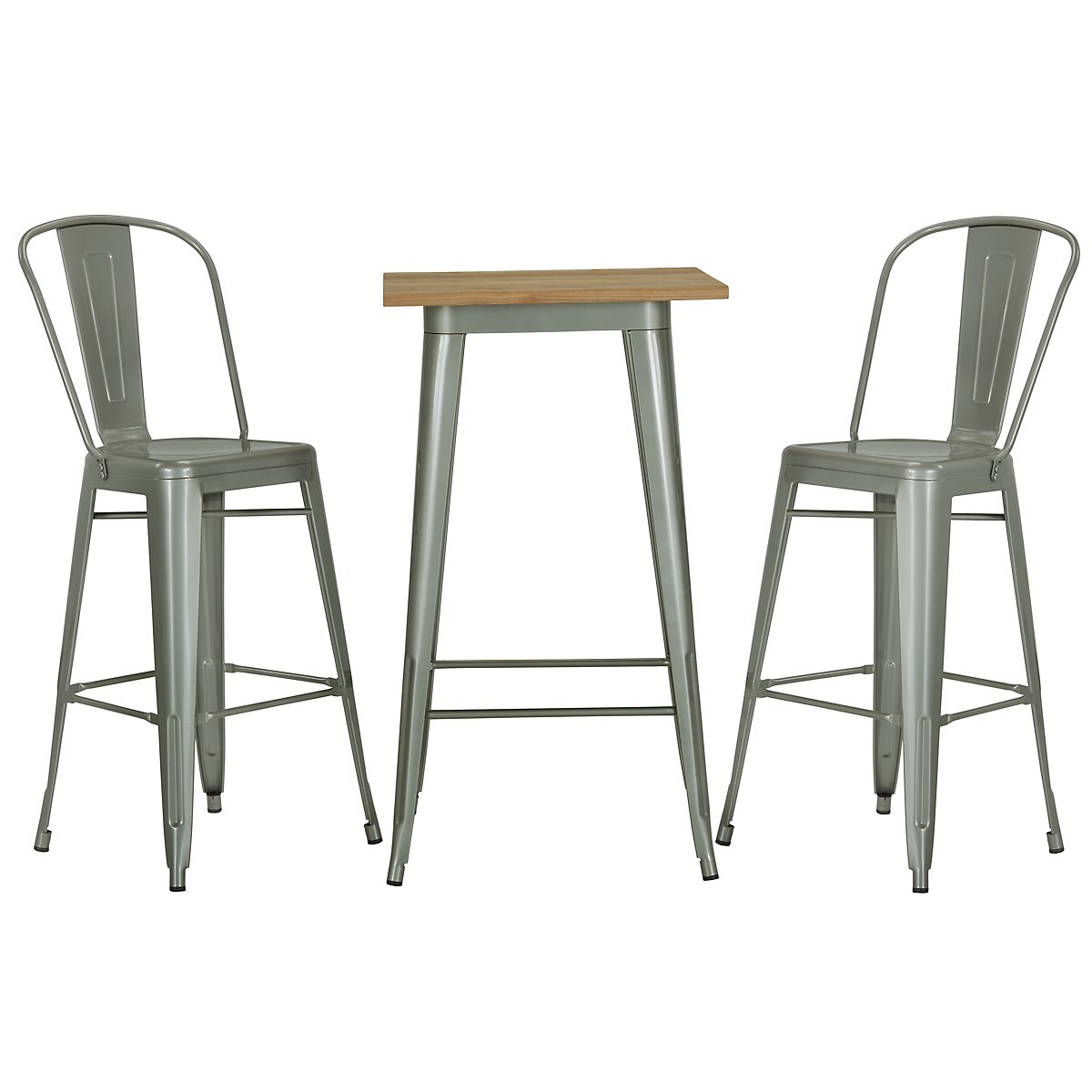 Huntley Light Tone Metal Pub Table & 2 Metal Barstools