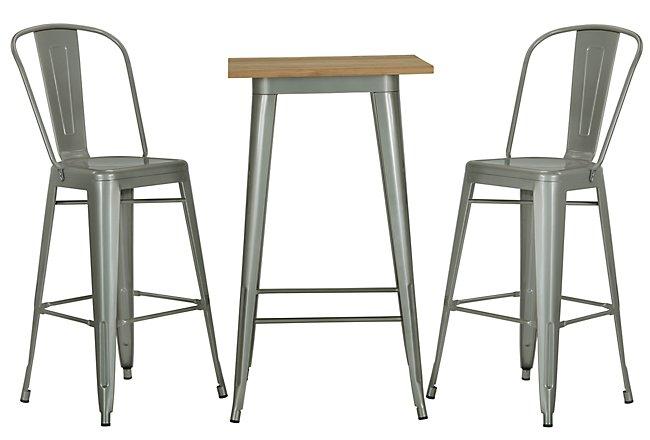 Huntley Light Tone Metal Pub Table & 2 Metal Barstools