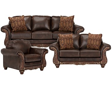 Irwindale Dark Brown Bonded Leather Living Room