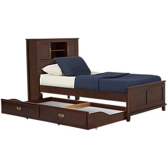 Chad Dark Tone Bookcase Storage Bed