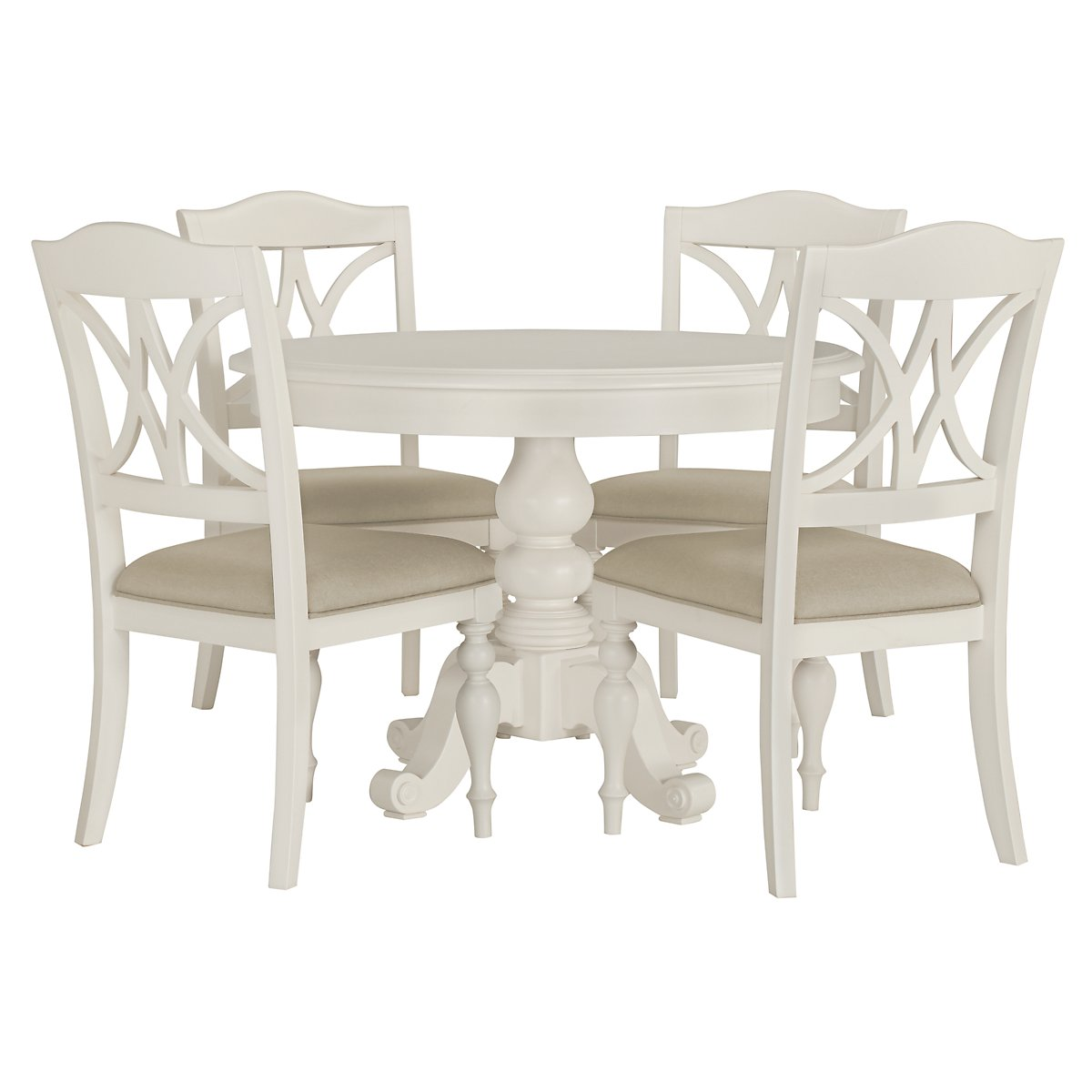 Quinn White Table & 4 Wood Chairs