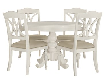 Quinn White Round Table & 4 Wood Chairs